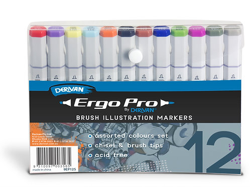 Derivan Ergo Pro Markers - 12 Assorted Set