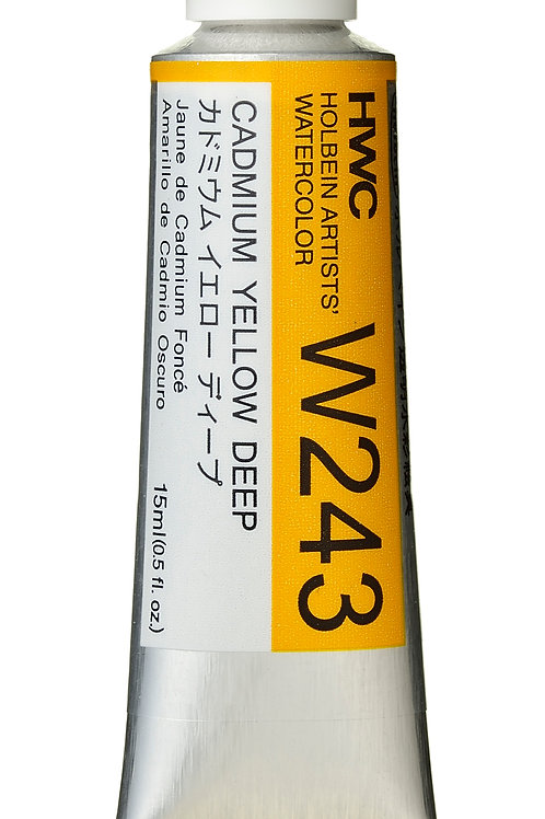 W243 Holbein Artists' Watercolour 15ml - Cadmium Yellow Deep