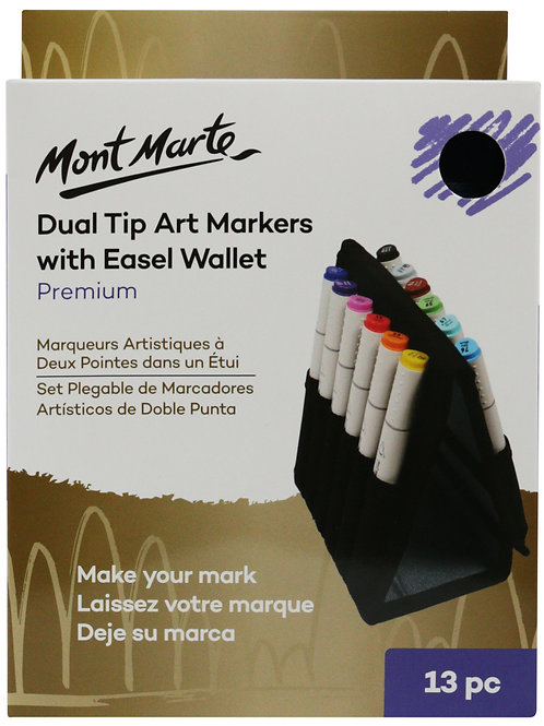 MMGS0026 MM Dual Tip Art Markers with Easel Wallet 13pc