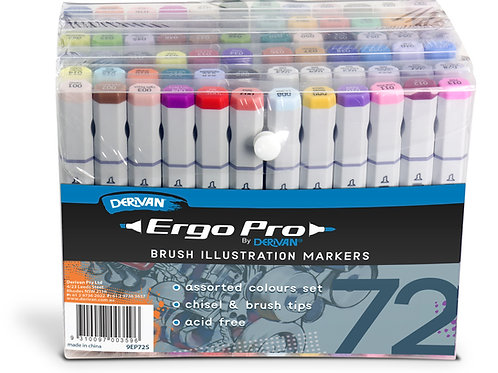 Derivan Ergo Pro Marker - 72 Assorted Set