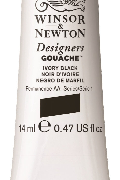 331 W&N Designers' Gouache 14ml - Ivory Black