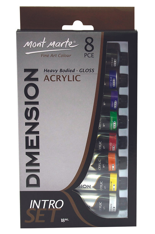 PMDA8181 MM Dimension Acrylic Paint Intro Set 8pc x 18ml