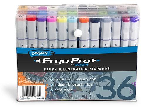Derivan Ergo Pro Marker - 36 Assorted Set
