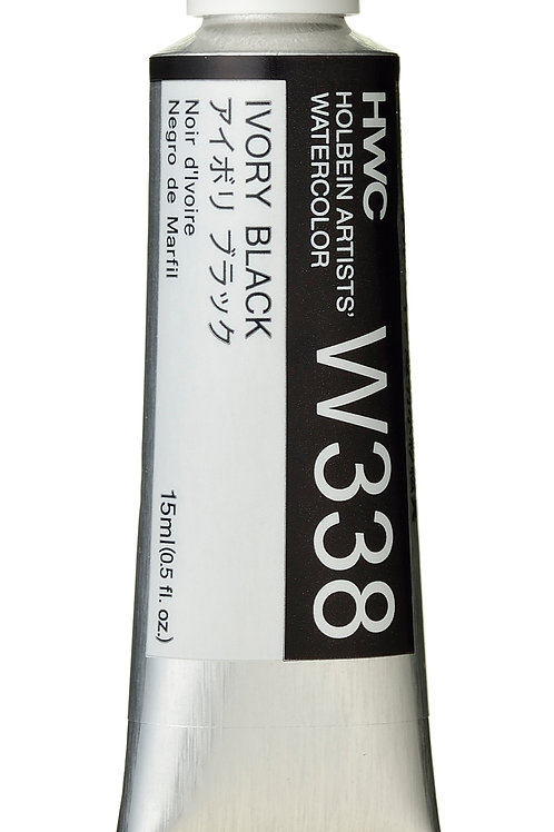 W338 Holbein Artists' Watercolour 15ml - Ivory Black