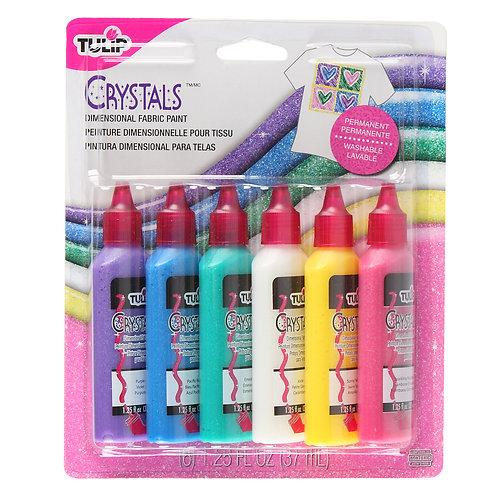 Tulip Dimensional Fabric Paint 37ml 6 pk - Crystals