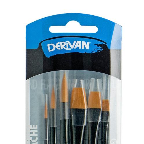 Derivan Golden Synthetic Black Ferrule 6 Sets