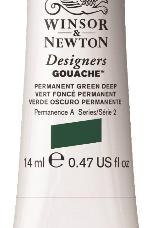 482 W&N Designers' Gouache 14ml - Permanent Green Deep