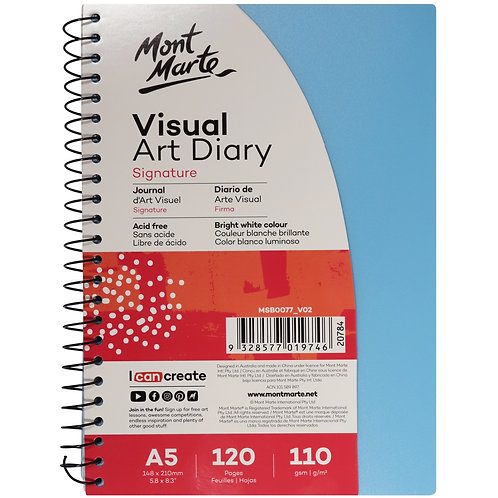 MM Visual Art Diary PP Coloured Cover A5