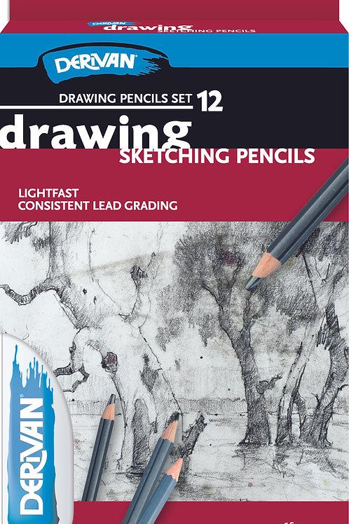 Derivan Drawing Pencil Set 12