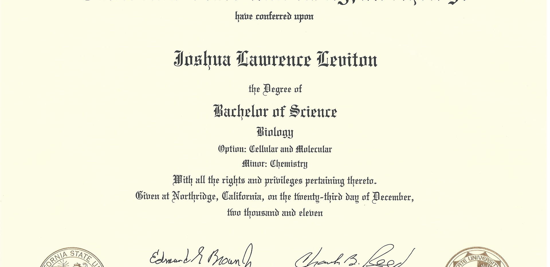 B.S. in Biology and Chemistry
