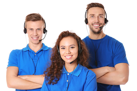 Team of friendly technical support dispa