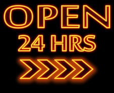 _Open 24 hours _ words in neon and black