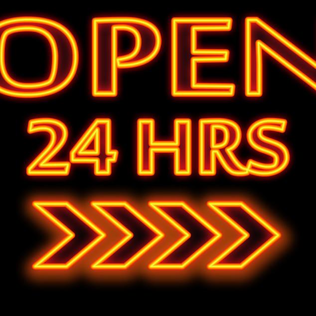_Open 24 hours _ words in neon and black