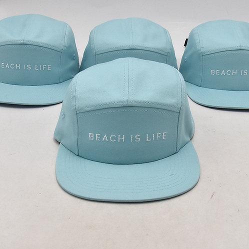BEACH IS LIFE by Aruba Sun, 5 Panel Cap BLUE