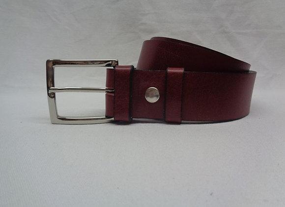 32 ceinture cuir acajou L 4 cm