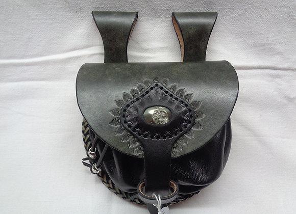 35 Escarcelle Pierre Ematite - Couture tressage lacet cuir