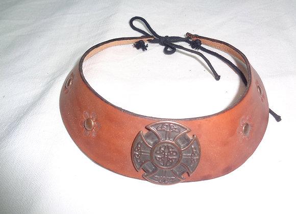 Collier en cuir - Inspiration Viking & celte - Motif croix celtique