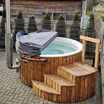 Wood Fired Hot Tub Burford Deluxe Cotswold Eco Tubs Oak and White - Insulated Cover & Supreme Steps