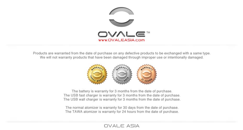 บุหรี่ไฟฟ้า OVALE บุหรี่ไฟฟ้า Premium Warranty