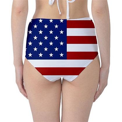 USA High Waist Flag Bikini Bottoms