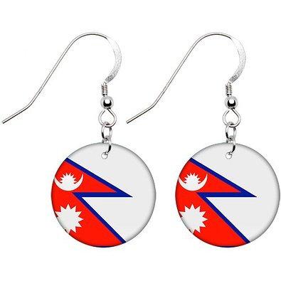 Nepal Flag Earrings