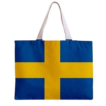 Sweden Flag Tote Bag w/ Zipper.