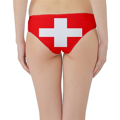 Swiss Flag Hipster Cheeky Bikini Bottoms