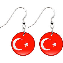 Turkey Country Flag Earrings, Turkish Flag Earrings, Globalkinis Flag Earrings
