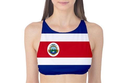 Costa Rica Flag Tank Bikini Top