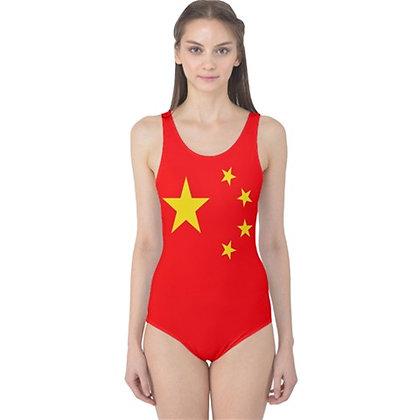 China Flag One Piece Swimsuit Bikini