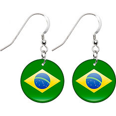 Brazil Flag Country Earrings, Globalkinis Brazil Earrings