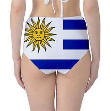 Uruguay High Waisted Flag Bikini Bottoms, Uruguayian High Waist Flag Bikini Bottoms