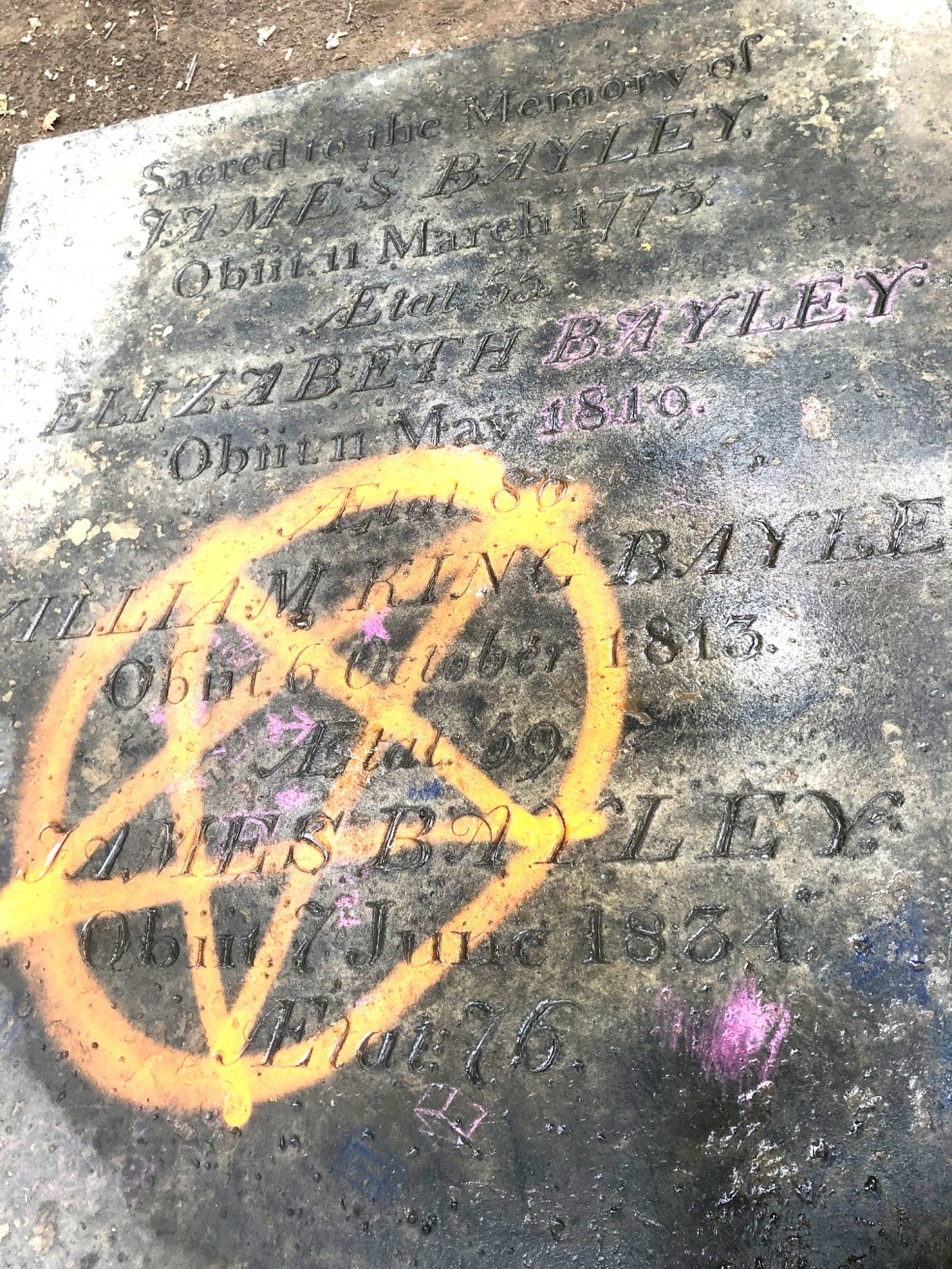 the pentagram that marks the vault James Bayley was buried in
