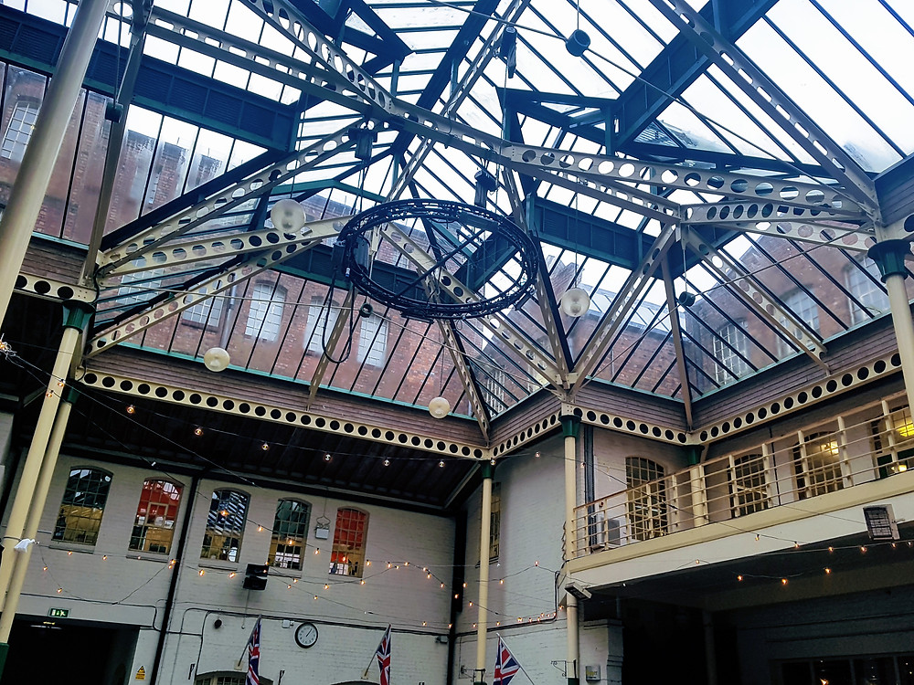 the ceiling of the courtyard of Chubb Buildings.