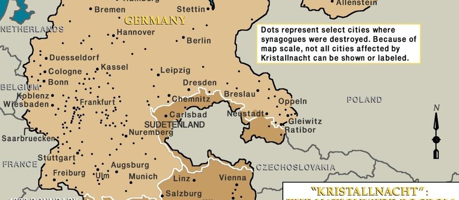 Este mapa mostra muitas das sinagogas destruídas na Kristallnacht
