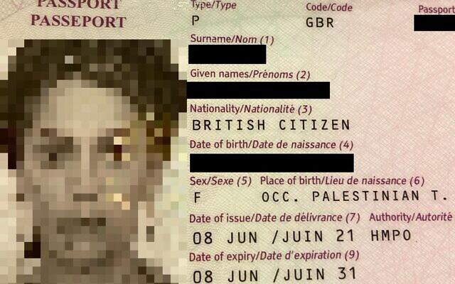 Passaporte britânico de israelense lista o local de nascimento como Territórios Palestinos Ocupados