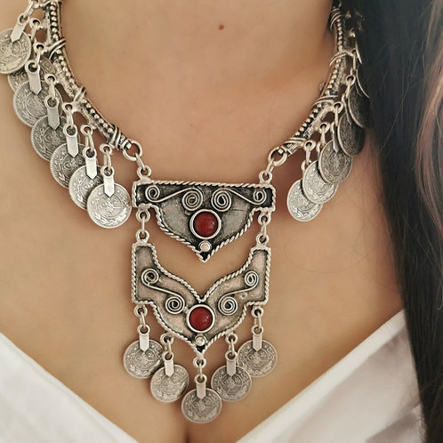 Red Stone Boho Necklace
