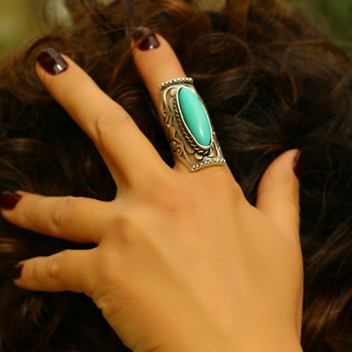 Antique Silver Long Turquoise Ring
