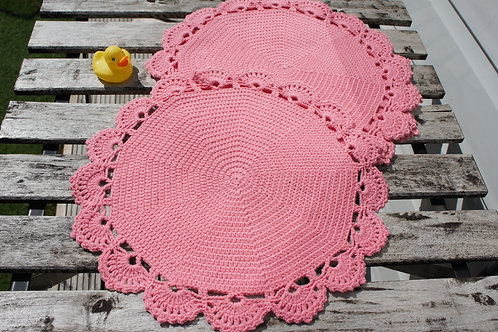 A Set of Two Round Crochet Placemats (dusky pink)
