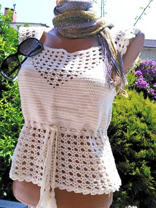 Beige Crochet Crop Top, Lace Crop Top