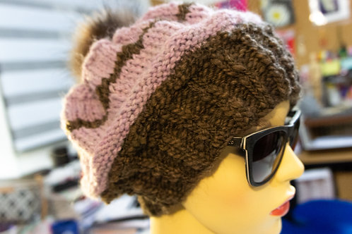 Lilac Brown Loose Knit Hat With Faux Fur Pompom