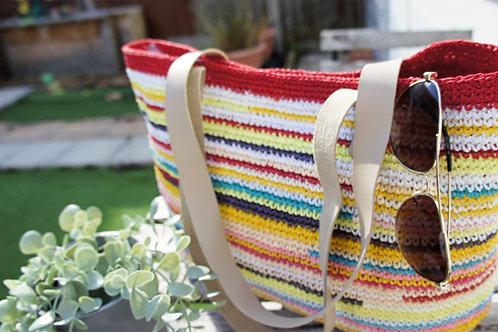 Crochet stripy clutch bag, straw clutch bag, raffia bag, handmade, straw yarn