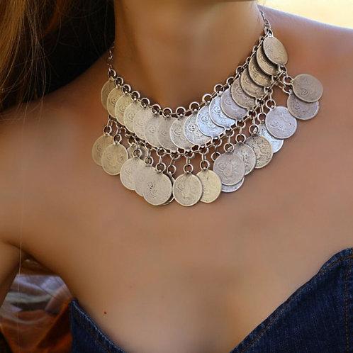 Bohemian Choker Necklace, Antique Silver Necklace