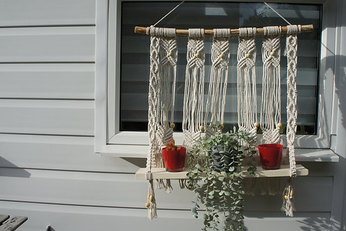 Macrame Large plant holder with wood shelf, Wall Hanging, Boho Decor