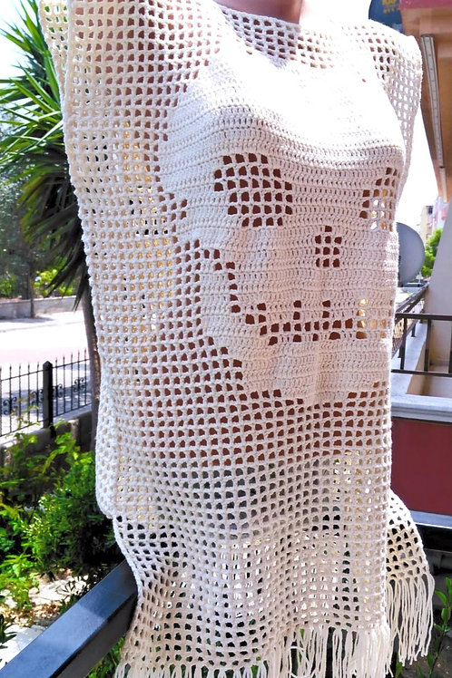Crochet Skull Pattern Tunic Top, Beige Lace Top