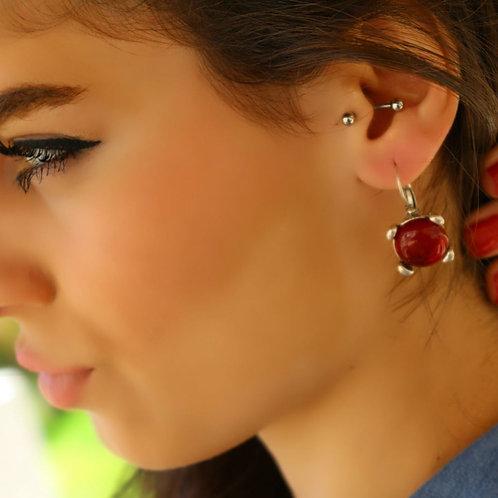 Red Stone Dainty Earrings