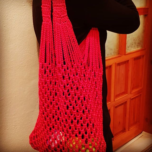 Red shopping bag _#handmade #red #shoppi