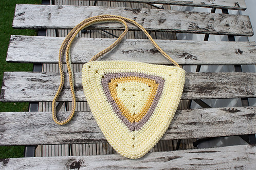 Beige colour triangle cross body bag