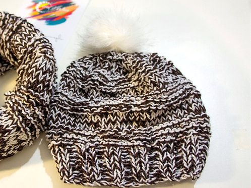 Brown / White twill knit hat with faux fur white pompom
