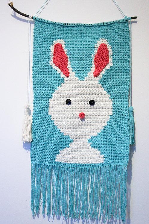 Handmade Crocheted Rabbit Wall decoration, Child room decoration
